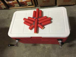 Jockey Box with red shrinks arranged on the lid to look like a maple leaf